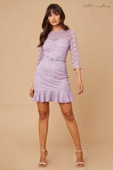 Little Mistress Darcey Lace Belted Pephem Mini Dress