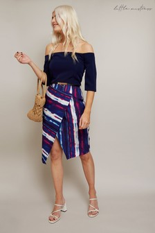 Little Mistress Kennet Stripe Belted Bardot Dress