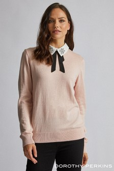 Dorothy Perkins Embellished Collar Bow 2 In1 Jumper