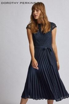 Dorothy Perkins Pleated Lace Midi Dress