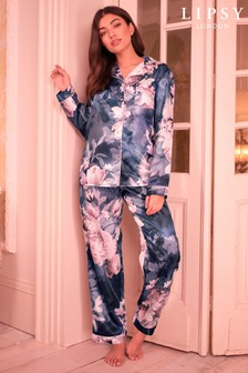 Lipsy Print Satin Shirt Long PJ Set