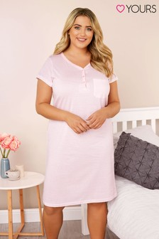 Yours Curve Stripe Placket Night Dress