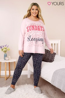 Yours Curve Sundays Are For Sleeping Long Sleeve Cuff Pant PJ Set