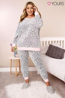 Yours Curve Fleece Animal PJ Set