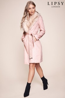 Lipsy Faux Fur Trim Robe Coat
