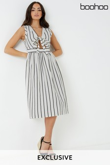 Boohoo Tie Front Striped Sundress