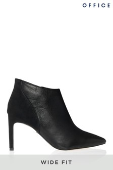 Office Wide Foot Leather Pointed Ankle Boots