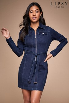 Lipsy Zip Through Denim Dress
