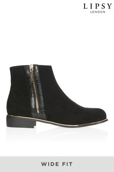 Lipsy Wide Fit Gold Zip Detail Flat Ankle Boot