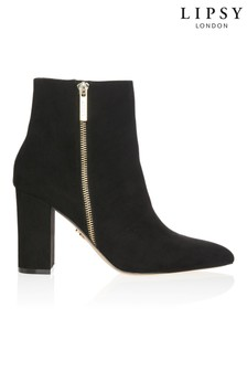Lipsy Gold Zip Almond Toe Block Heel Ankle Boots