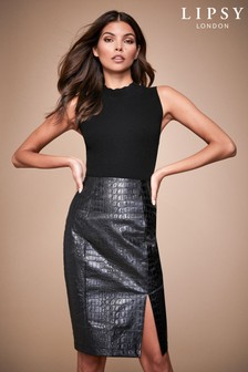 Lipsy Croc Faux Leather Pencil Skirt