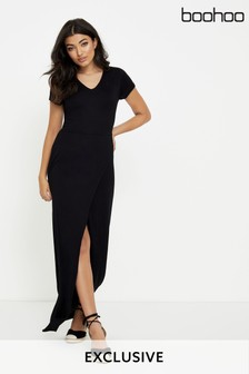 Boohoo Tie Wrap Maxi Dress