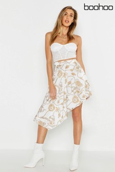Boohoo Chain Print Asymmetric Skirt