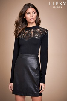 Lipsy Lace Yolk PU Two-In-One Dress