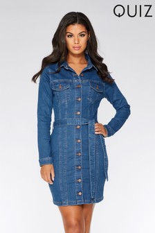 Quiz Long Sleeve Denim Tie Belt Shirt Dress