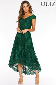 Quiz Embroidered Bardot Dip Hem Dress