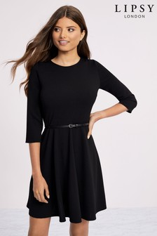 Lipsy Long Sleeve Belted Skater Dress