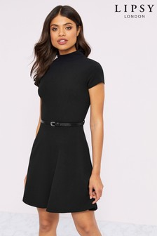 Lipsy High Neck Belted Skater Dress