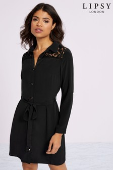 Lipsy Lace Insert Shirt Dress