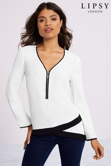Lipsy Long Sleeve Mono Zip Front Top