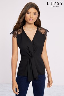 Lipsy Lace Insert Knot Front Top