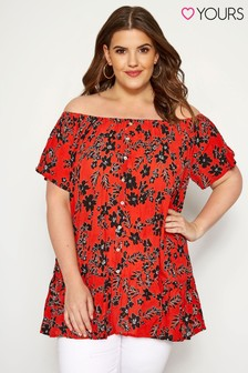 Yours Curve Printed Bardot Top