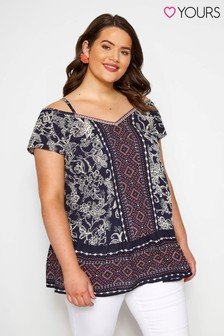 Yours Curve Print Mix Cold Shoulder Top