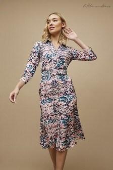 Little Mistress Balmoral Marble-Print Belted Midi Shirt Dress