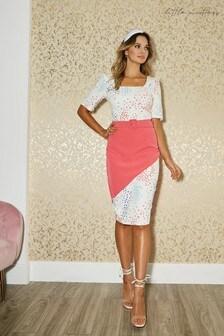 Little Mistress Poplar Spot Print Colour Block Belted Dress