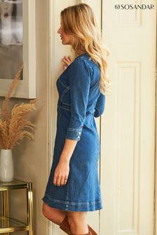 Sosandar Zip Front Collarless Denim Dress