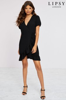 Lipsy Puff Sleeve Wrap Dress