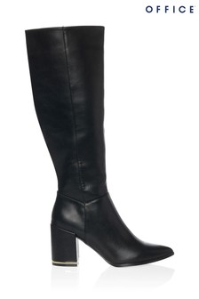 Office Pointed Block Heel Knee-High Boot