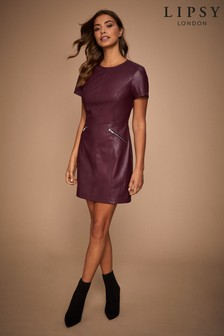 Lipsy Faux Leather Skater Zip Dress