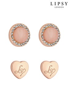 Lipsy 2 Pack Rose Quartz & Heart Stud Earrings