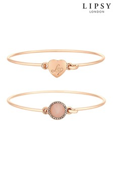 Lipsy Quartz Circle Heart Bangle - 2 Pack