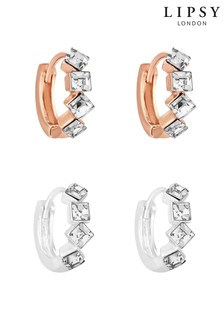 Lipsy Cubic Zirconia Stone Set 2 Pack Of Hoop Earrings