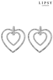 Lipsy Pave Heart Doorknocker-Crystal Earrings