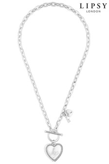 Lipsy Heart Charm T-Bar Necklace