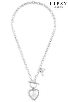 Lipsy Heart Charm T-Bar Necklace