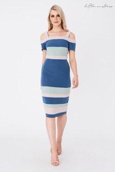 Little Mistress Rowe Colour Block Cold Shoulder Midi Dress