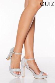 Quiz Shimmer Square Toe Platform Heels