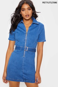 PrettyLittleThing Zip Front Belted Denim Dress