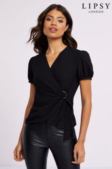 Lipsy Puff Sleeve D Ring Top