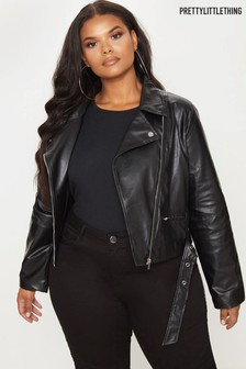 PrettyLittleThing Plus PU Biker Jacket