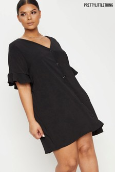 PrettyLittleThing Plus Button Through Frill Sleeve Dress