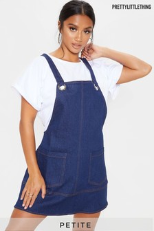 PrettyLittleThing Petite Mid Wash Denim Pinafore Dress