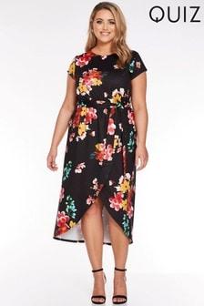 Quiz Curve Floral Print Wrap Dress