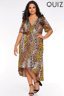 Quiz Curve Leopard Print Wrap Dress