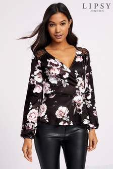 Lipsy Amber Floral Wrap Top