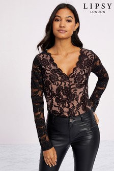 Lipsy Scallop Lace Long Sleeve Bodysuit